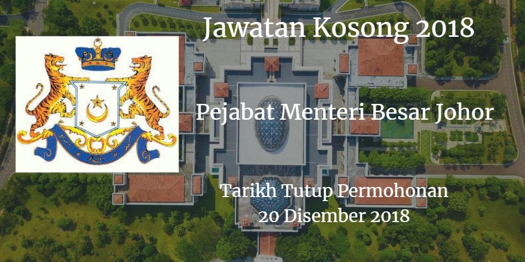 Jawatan Kosong Pejabat Menteri Besar Johor 20 Disember 2018