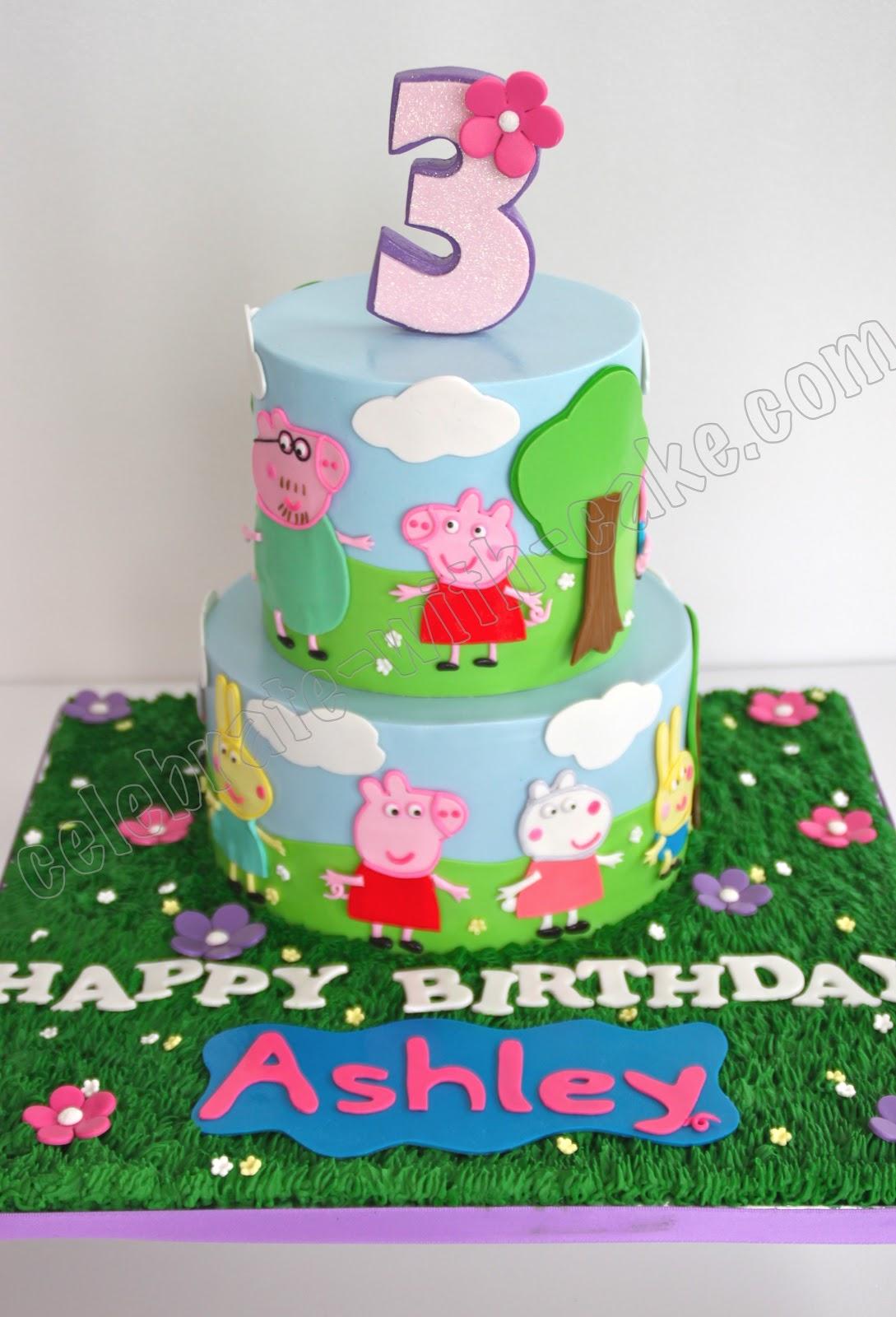 Happy Birthday Pig With Cakes