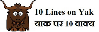 10 Lines on Yak in Hindi and English
