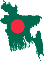 Bangladesh outline with flag overlay
