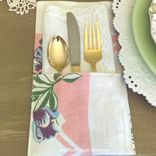 Repurposed vintage tablecloth flatware pockets
