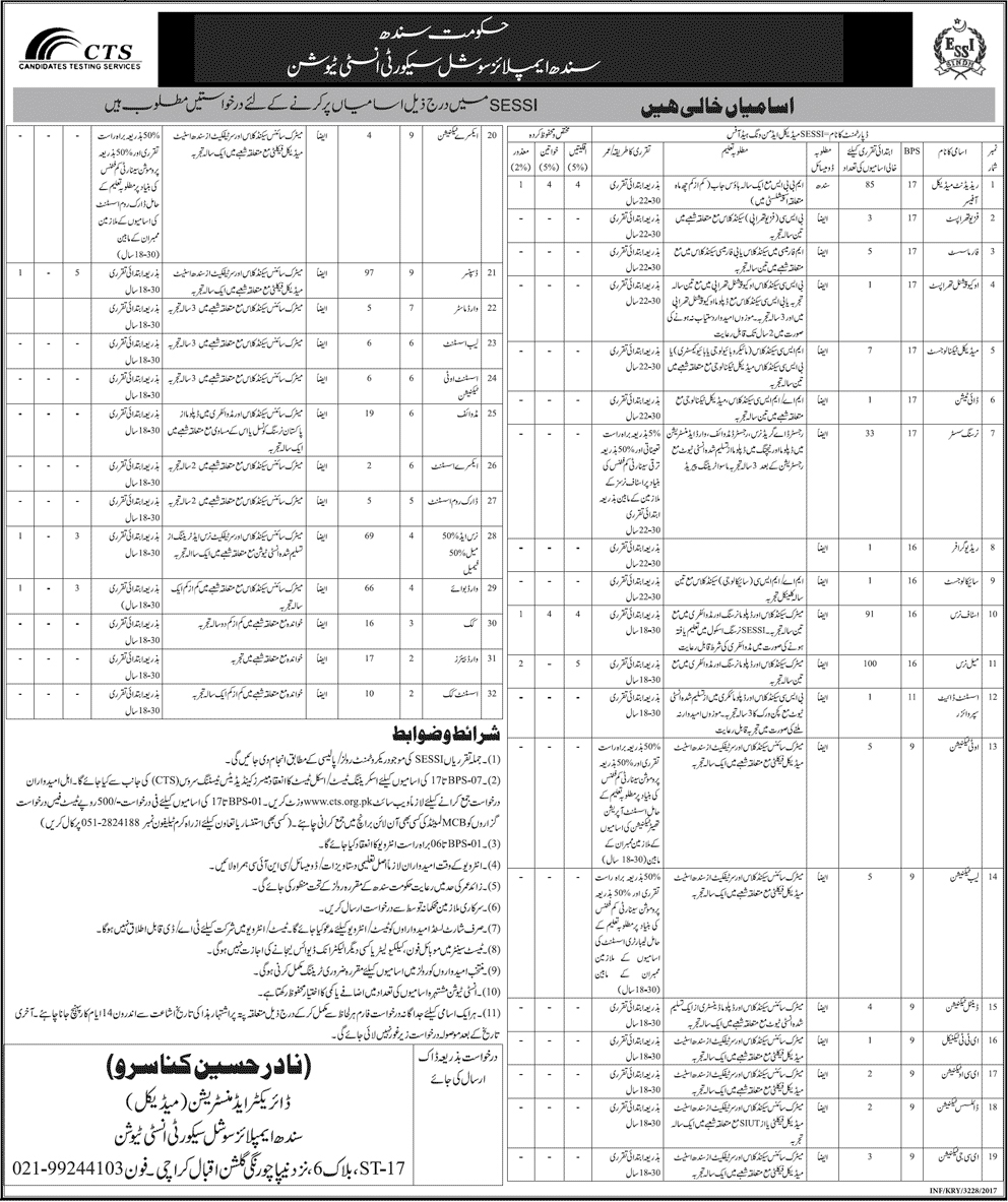 Jobs In Sindh Employees Social Security Institution Karachi   June 2017