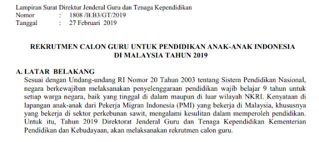Rekrutmen Calon Guru Untuk Pendidikan Anak REKRUTMEN CALON GURU UNTUK PENDIDIKAN ANAK-ANAK INDONESIA DI MALAYSIA TAHUN 2019