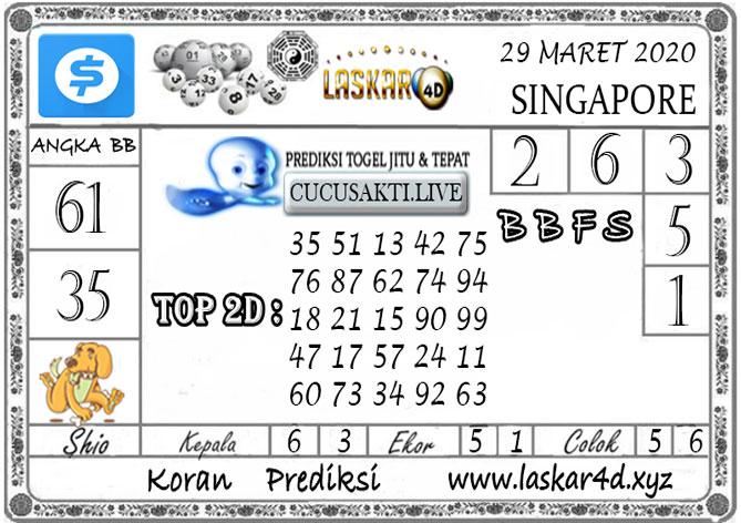 Prediksi Togel SINGAPORE LASKAR4D 29 MARET 2020