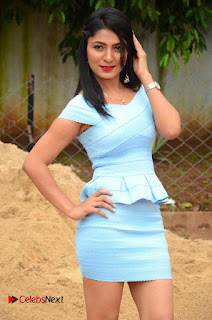 Actress Ankitha Jadhav Pictures in Blue Short Dress at Cottage Craft Mela 0011