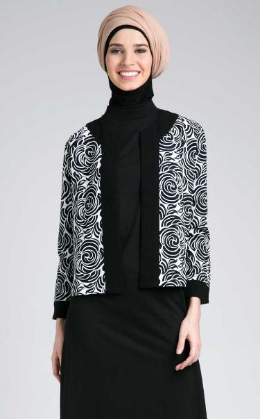 Contoh Desain Baju Muslim Batik Blazer Untuk Ibu Hamil
