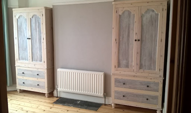 Rustic reclaimed white wash wardrobes made in the UK to size