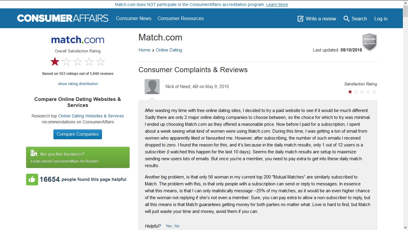 complaints matchcom fake profiles scam