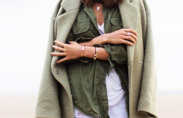 olive green blouse and coat over white tee street style chic