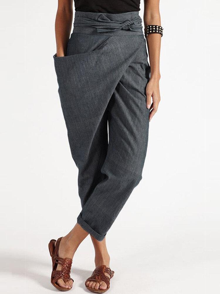 Casual Wrap Pocket Irregular Plus Size Harem Pants with Belt