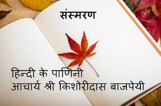 हिन्दी के पाणिनी आचार्य श्री किशोरीदास  बाजपेयी : संस्मरण