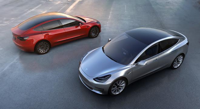 Two Tesla Model 3 EVs