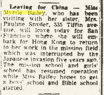 "Climbing My Family Tree: ""Leaving for China"" 20 September 1947, Findlay Republican Courier, p 9"