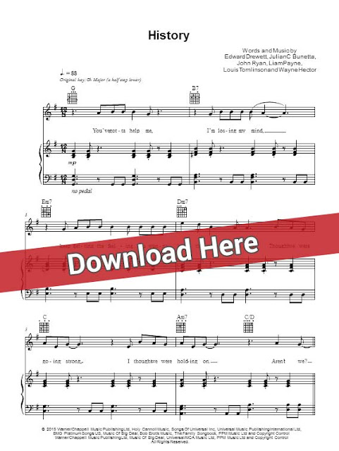 one direction, history, sheet music, piano notes, score, chords, download, klaviernoten, keyboard, bass, guitar, tabs