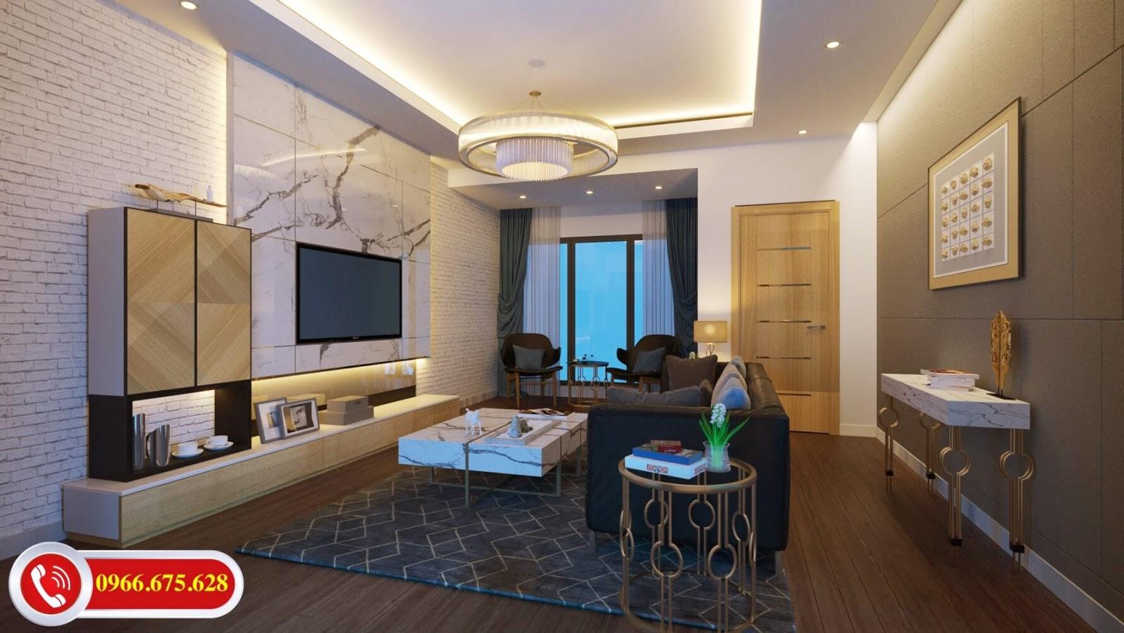 Phòng khách căn hộ 3 ngủ Amber Minh Khai