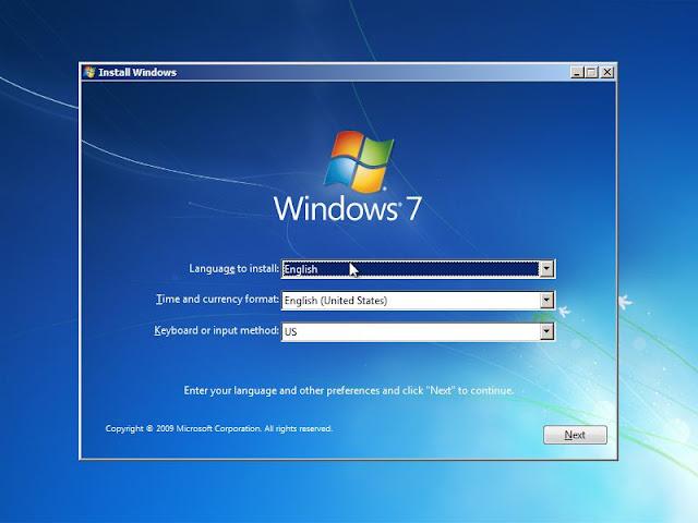 Cara instal windows 7 pada laptop atau komputer