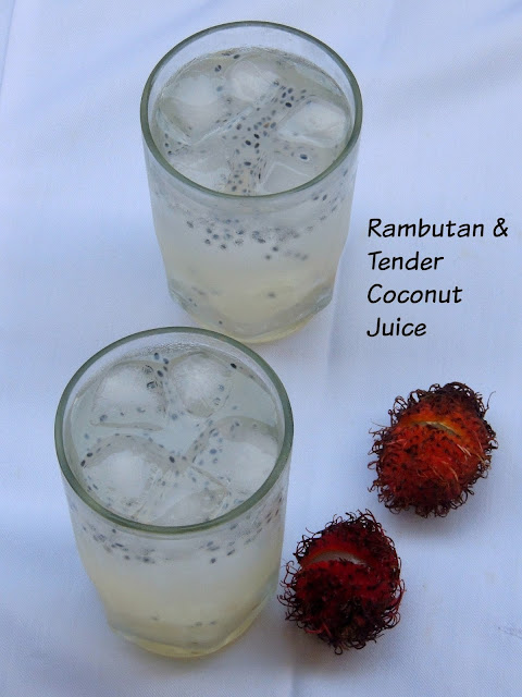 Tender Coconut & Rambutan juice with Basil seeds