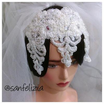 Headpiece pengantin dan hiasan veil panjang