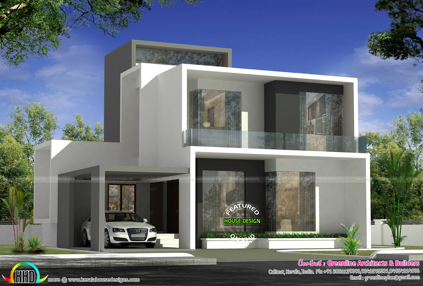 Cute simple contemporary house plan kerala home design for Simple modern house blueprints