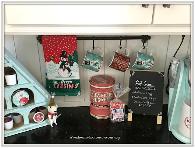 Farmhouse Christmas Kitchen-Vinatge Inspired-Snowman Mugs-Hot Chocolate Mugs-From My Front Porch To Yours