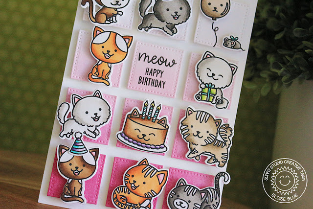 Sunny Studio Stamps: Purrfect Birthday Grid Design Happy Birthday Card by Eloise Blue