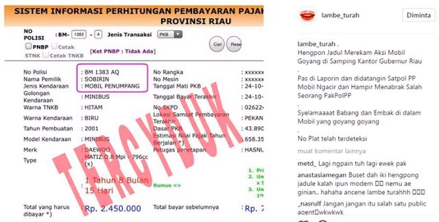 Akun Gosip Nasional, Lambe Turah juga mencantumkan bukti kepemilikan mobil