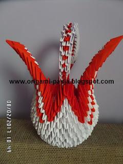 łabędź, papier, klej, biały, segmentowe , origami,