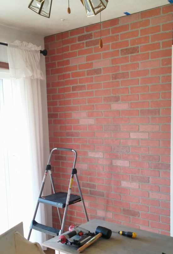 Living Room Makeover - Faux Brick Wall Paneling - Little Vintage Cottage
