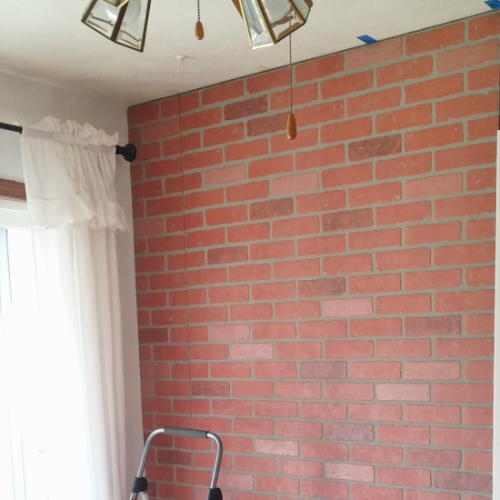 Living Room Makeover - Faux Brick Wall Paneling