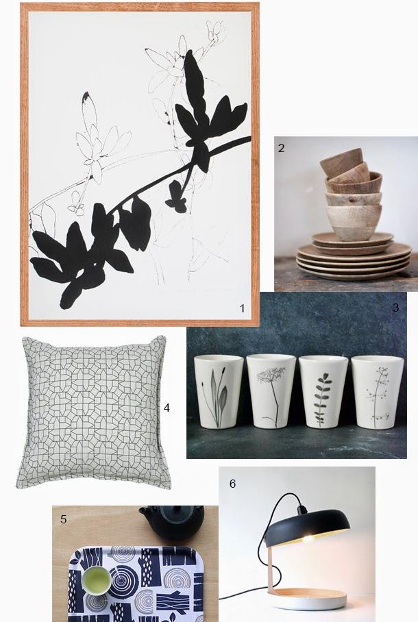 wall art, geometric cushion, lamp