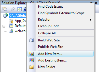 how to add Global asax cs file in asp net or how to add Code