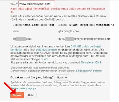 Tahap Akhir Mengubah Domain Blogspot.com Menjadi .com