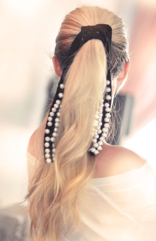 low twisted ponytail, hair accessory DIY