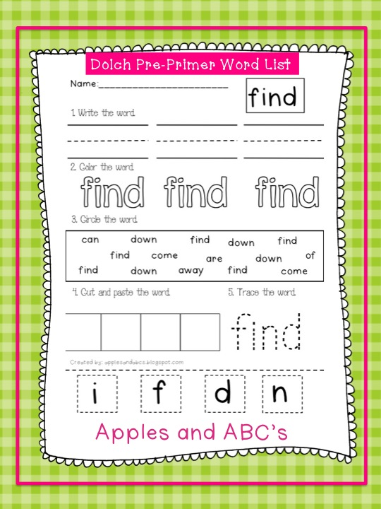 Dolch Pre-Primer Sight Word Printables - Apples and ABC\u0027s