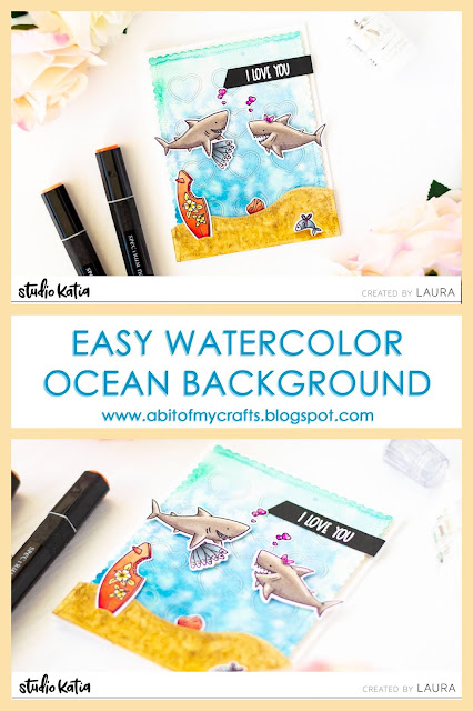 Watercolor Ocean Themed Card with Studio Katia Jawesome and Gansai Tambi Watercolors