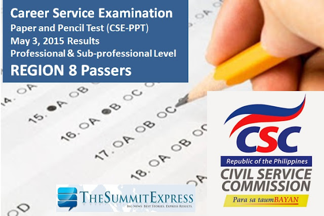 Region 8 Passers: May 2015 Civil service exam results (CSE-PPT)