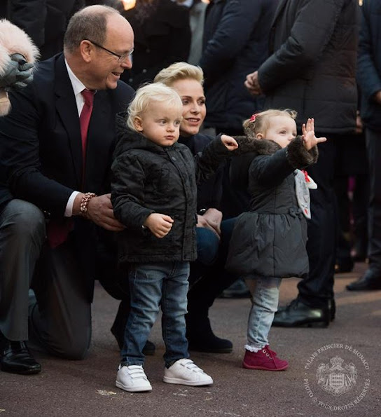 Princess Charlene, Princess Gabriella at Monaco Christmas Village in Monaco. Princess Charlene wears MICHAEL KORS Double breasted wool crepe blazer