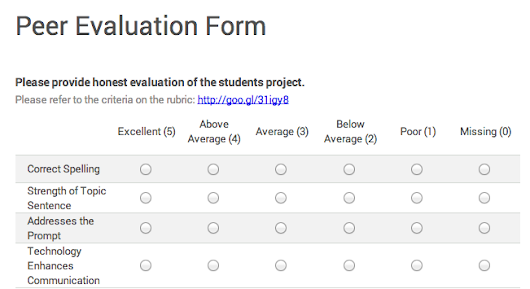 Delivering Peer Feedback with Google Forms