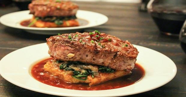 Steaks With Crispy Polenta, Caramelized Onions & Kale,  & Balsamic-Cherry Sauce Recipe
