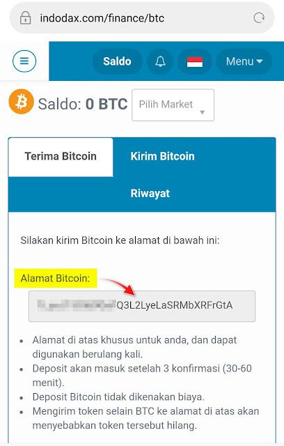 Cara Melihat Alamat Bitcoin Address di Indodax