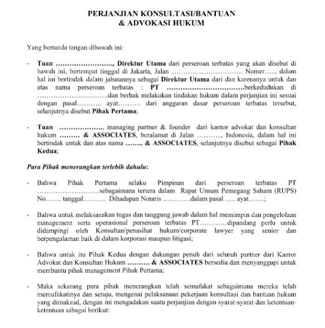 Contoh Surat Resmi Perjanjian Konsultasi  Bantuan & Advokasi Hukum Format Word