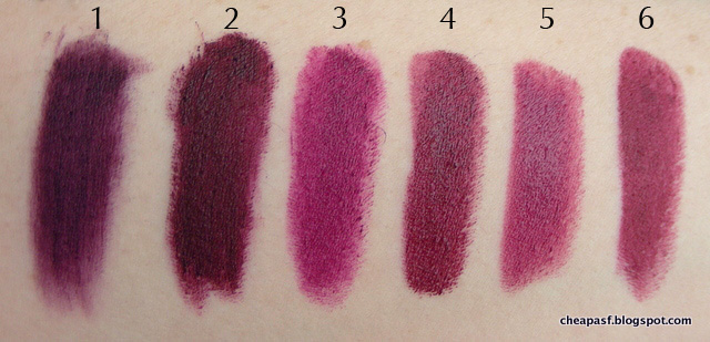 Swatches of 1. Urban Decay Vice Lipstick in Blackmail; 2. Urban Decay Disturbed; 3. Bite Beauty Amuse Bouche in Jam; 4. Bite Beauty Scarlet; 5. Bite Beauty Mulberry; and 6. Maybelline Creamy Matte Lipstick in Divine Wine.