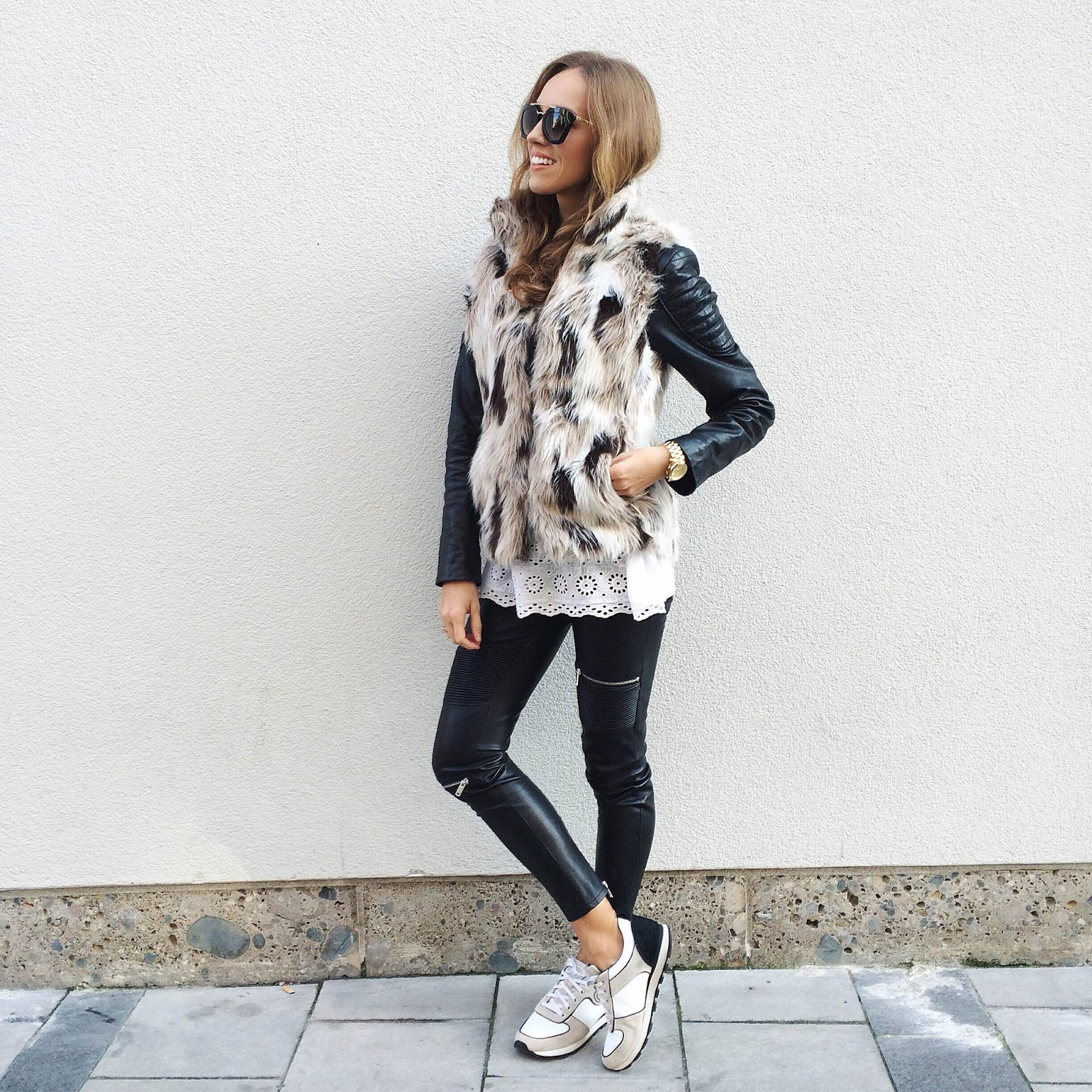 kristjaana mere fur vest leather pants white sneakers casual fall winter outfit