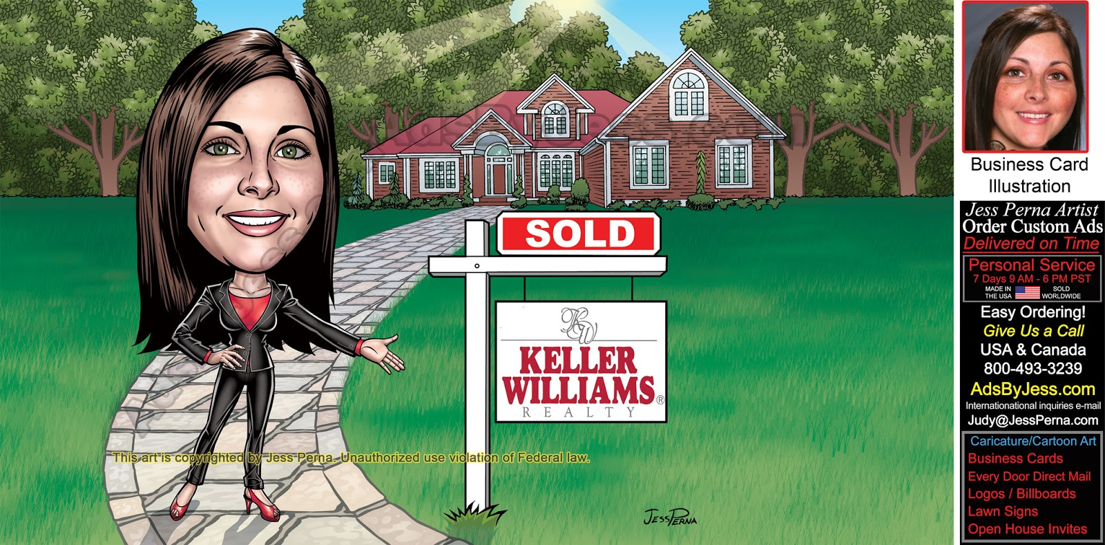 Keller williams business cards june 2017 kw real estate agent caricature sold sign magicingreecefo Gallery