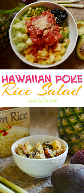 Yum!  This summery Hawaiian Poke Rice Salad includes the flavors of ahi tuna, savory ginger dressing, pineapple, cucumber, and wholesome brown rice.