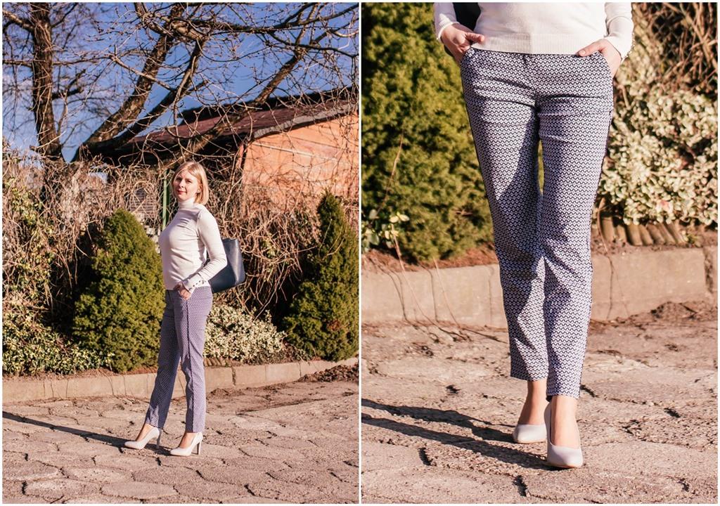 Granatowe-białe eleganckie spodnie (Bonprix nr art. 92644595)