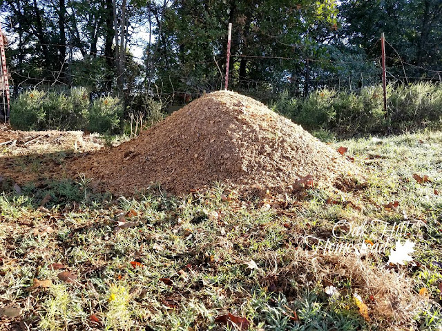 "A truck-load of wood shavings provides all the ""brown"" material I need for composting (c) Oak Hill Homestead"