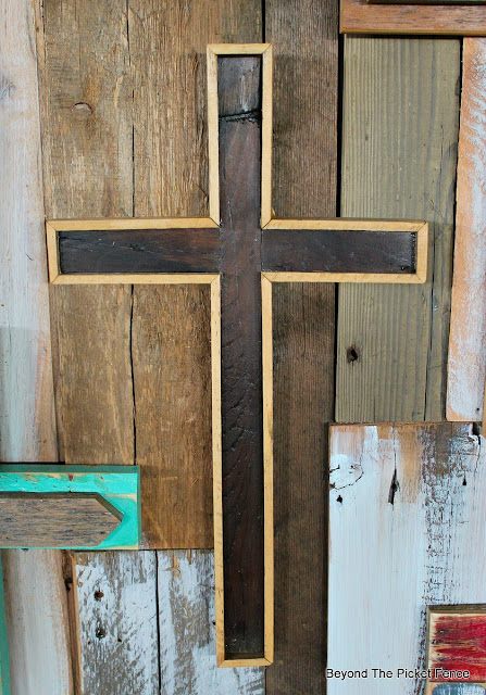 rustic, cross, decor, reclaimed wood, barnwood, lathe, Easter, rugged cross, http://bec4-beyondthepicketfence.blogspot.com/2016/02/more-rustic-crosses-and-finding-waldo.html
