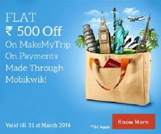 Mobikwik is offering Flat Rs.500 Cashback on transactions made on MakeMyTrip worth Rs.2,500 or more