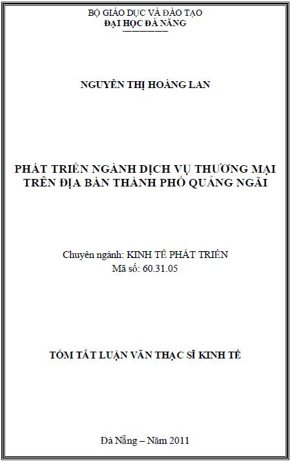 Phát triển ngành dịch vụ thương mại trên địa bàn thành phố Quảng Ngãi